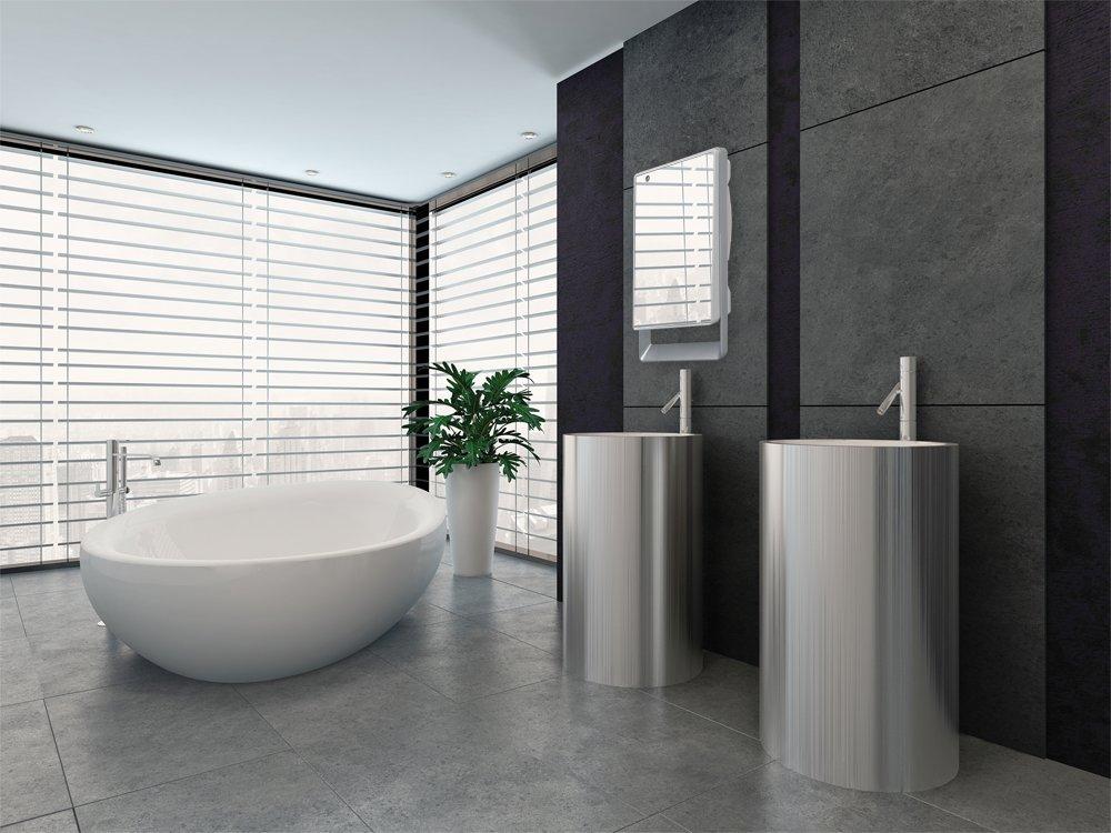Termoventilatore da bagno con timer e specchio folio visio radialight - Termoventilatore da parete per bagno ...