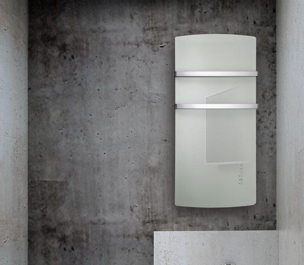 Radiatore scaldasalviette in vetro deva 1500w versione bianco onice radialight - Termoarredo per bagno ...
