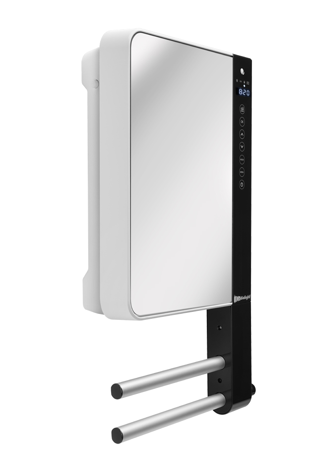 Termoventilatore da parete programmabile con barre portasalviette e specchio windy visio - Deumidificatore bagno parete ...