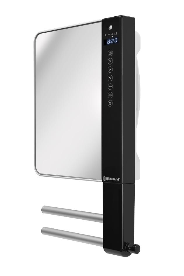Termoventilatore da parete programmabile con barre portasalviette e specchio windy visio - Termoventilatore da bagno ...