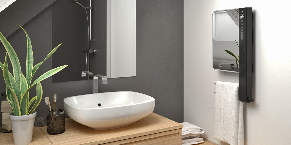 Termoventilatore da parete programmabile con barre portasalviette e specchio windy visio - Termoventilatore da parete per bagno ...